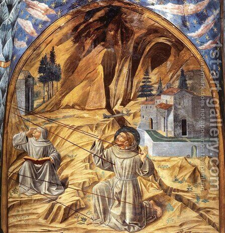 Scenes from the Life of St Francis (Scene 11, south wall) 1452 by Benozzo di Lese di Sandro Gozzoli - Reproduction Oil Painting