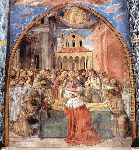 Scenes from the Life of St Francis (Scene 12, south wall) 1452 by Benozzo di Lese di Sandro Gozzoli - Reproduction Oil Painting