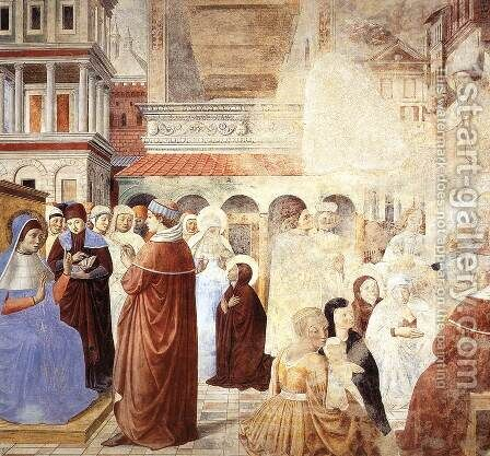 Scenes with St Ambrose (scene 9, north wall) 1464-65 by Benozzo di Lese di Sandro Gozzoli - Reproduction Oil Painting