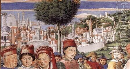 St Augustine Departing for Milan (detail 2) 1464-65 by Benozzo di Lese di Sandro Gozzoli - Reproduction Oil Painting