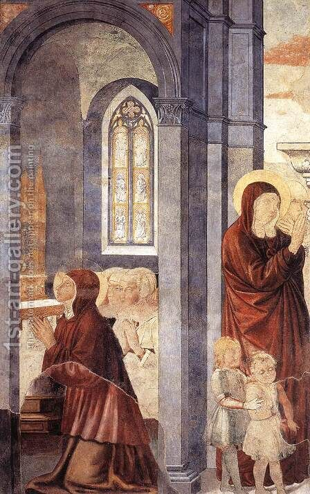 St Augustine Leaving his Mother (scene 3, east wall) 1464-65 by Benozzo di Lese di Sandro Gozzoli - Reproduction Oil Painting