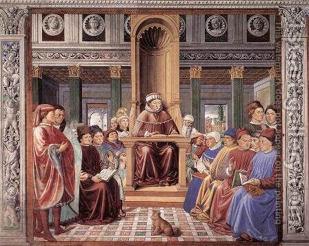 St Augustine Teaching in Rome (scene 6, south wall) 1464-65 by Benozzo di Lese di Sandro Gozzoli - Reproduction Oil Painting