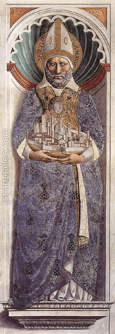 St Gimignano (on the pillar) 1464-65 by Benozzo di Lese di Sandro Gozzoli - Reproduction Oil Painting