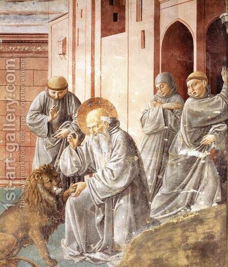 St Jerome Pulling a Thorn from a Lion's Paw 1452 by Benozzo di Lese di Sandro Gozzoli - Reproduction Oil Painting
