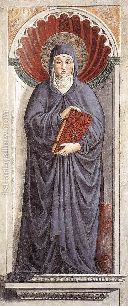 St Monica (on the pillar) 1464-65 by Benozzo di Lese di Sandro Gozzoli - Reproduction Oil Painting
