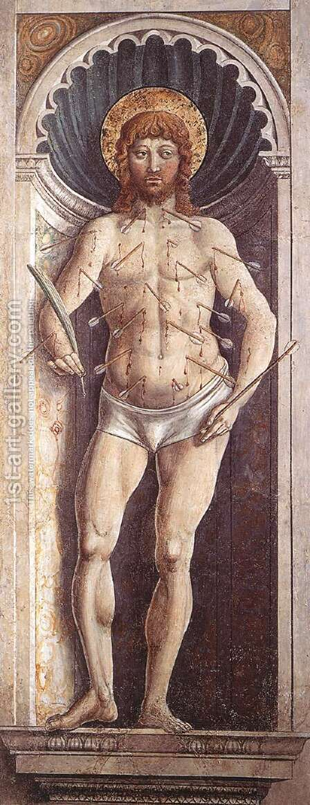 St Sebastian (on the pillar) 1464-65 by Benozzo di Lese di Sandro Gozzoli - Reproduction Oil Painting