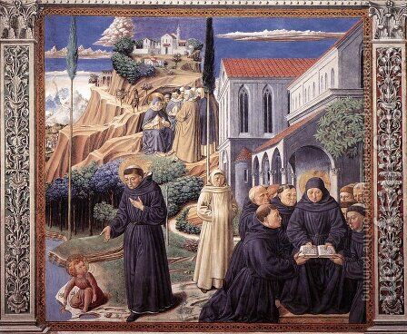 The Parable of the Holy Trinity (scene 12, south wall) 1464-65 by Benozzo di Lese di Sandro Gozzoli - Reproduction Oil Painting