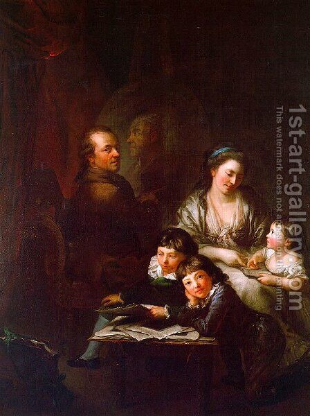 The Artist's Family before the Portrait of Johann Georg Sulzer 1785 by Anton Graff - Reproduction Oil Painting