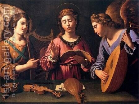St Cecilia with Two Angels 1620-25 by Antiveduto Gramatica - Reproduction Oil Painting