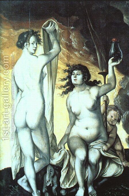 Sacred and Profane Love by Hans Baldung  Grien - Reproduction Oil Painting