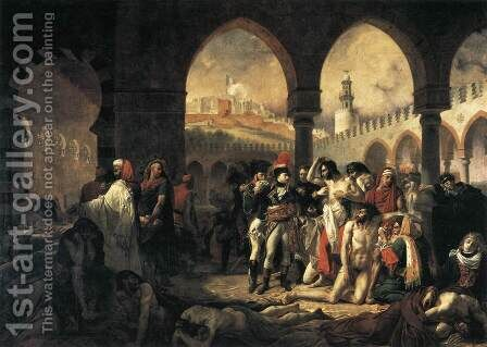 Napoleon Bonaparte Visiting the Plague-stricken at Jaffa 1799 by Antoine-Jean Gros - Reproduction Oil Painting