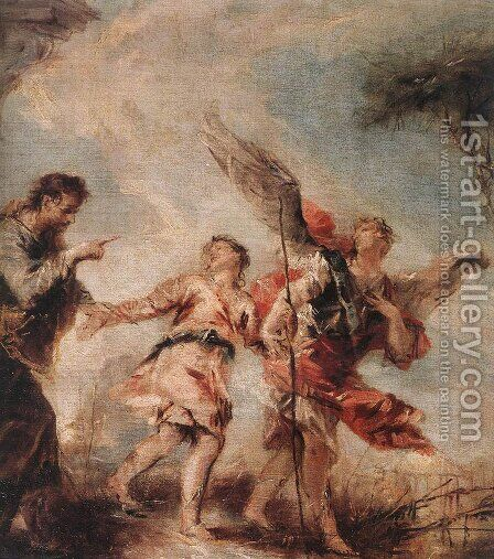 The Departure of Tobias c. 1750 by Giovanni Antonio Guardi - Reproduction Oil Painting