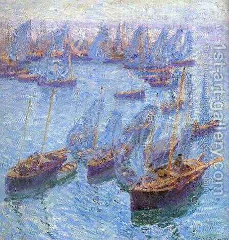 Breton Fishing Boats 1912 by Bernhard Gutmann - Reproduction Oil Painting