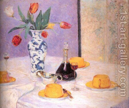 Tulips and Yellow Tea Service by Bernhard Gutmann - Reproduction Oil Painting