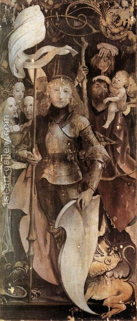 Fourteen Saints Altarpiece (detail 1) 1503 by Matthias Grunewald (Mathis Gothardt) - Reproduction Oil Painting