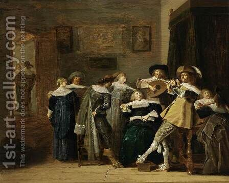 An Elegant Company Playing Music 1637 by Dirck Hals - Reproduction Oil Painting