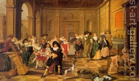Banquet Scene in a Renaissance Hall 1628 by Dirck Hals - Reproduction Oil Painting