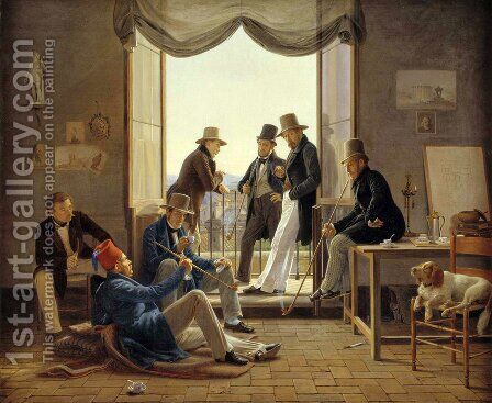 A Group of Danish Artists in Rome  1837 by Constantin Hansen - Reproduction Oil Painting