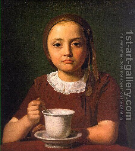 Little Girl with a Cup (Elise Kobke)  1850 by Constantin Hansen - Reproduction Oil Painting