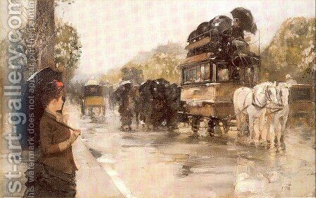 April Showers, Champs Elysées, Paris 1888 by Childe Hassam - Reproduction Oil Painting