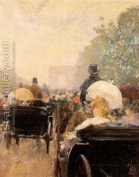 Carriage Parade 1888 by Childe Hassam - Reproduction Oil Painting