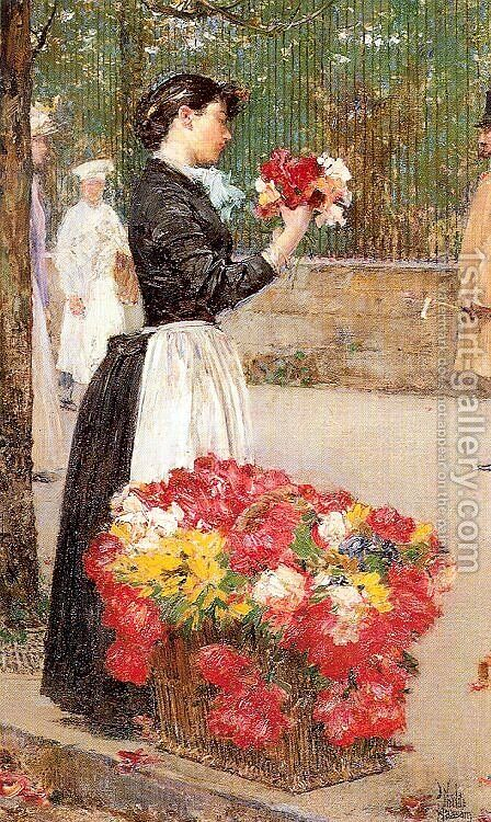 Flower Girl 1888 by Childe Hassam - Reproduction Oil Painting