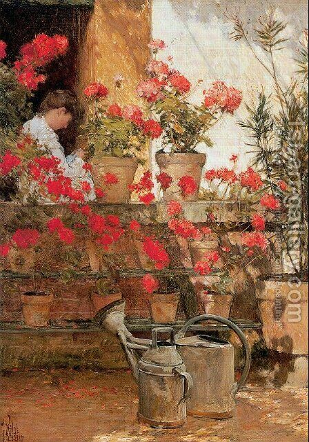 Geraniums 1888 by Childe Hassam - Reproduction Oil Painting