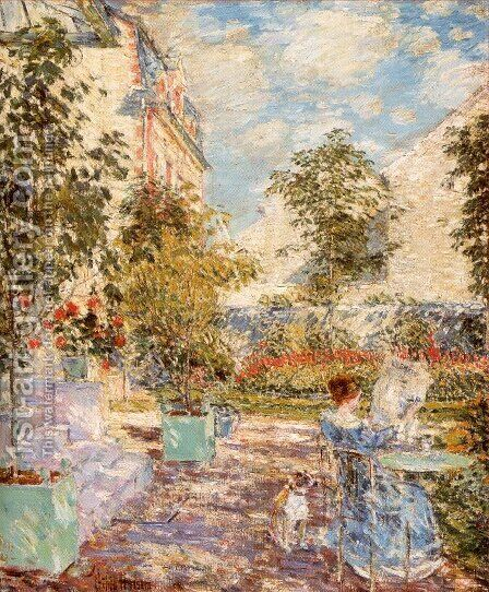 In a French Garden 1897 by Childe Hassam - Reproduction Oil Painting