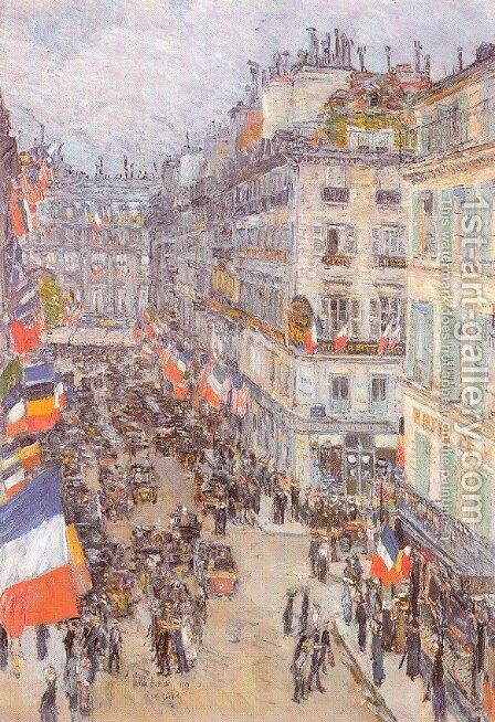 July Fourteenth, Rue Daunou 1910 by Childe Hassam - Reproduction Oil Painting