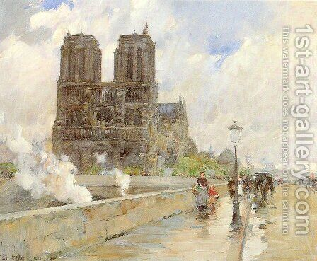 Notre Dame Cathedral, Paris 1888 by Childe Hassam - Reproduction Oil Painting