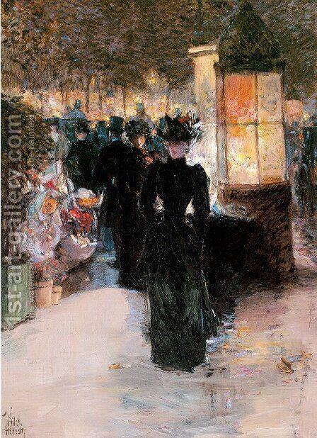 Paris Nocturne 1889 by Childe Hassam - Reproduction Oil Painting