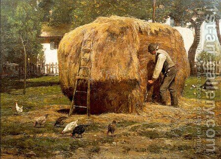 The Barnyard 1885 by Childe Hassam - Reproduction Oil Painting