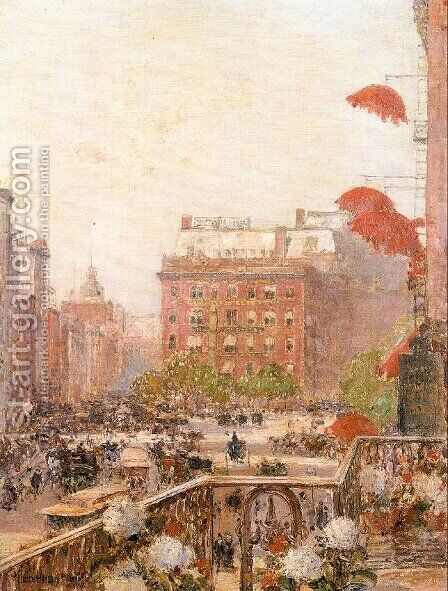 View of Broadway and Fifth Avenue 1890 by Childe Hassam - Reproduction Oil Painting