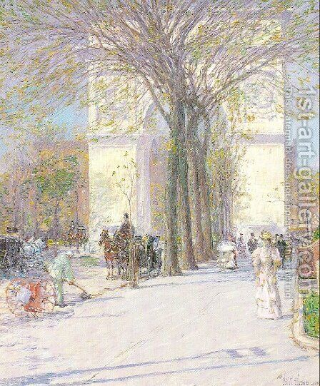 Washington Arch in Spring 1890 by Childe Hassam - Reproduction Oil Painting