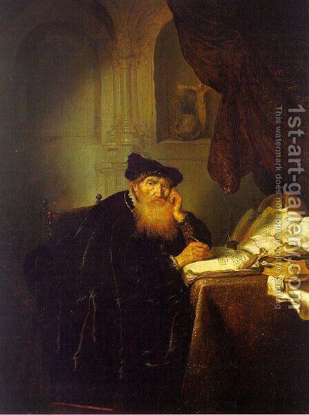 The Philosopher  1635 by Abraham van der Hecken - Reproduction Oil Painting
