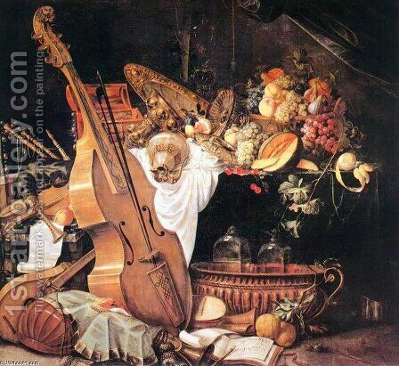 Vanitas Still-Life with Musical Instruments, 1661 by Cornelis De Heem - Reproduction Oil Painting
