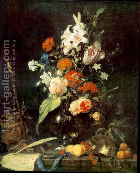 Flower Still-life with Crucifix and Skull 1630s by Jan Davidsz. De Heem - Reproduction Oil Painting
