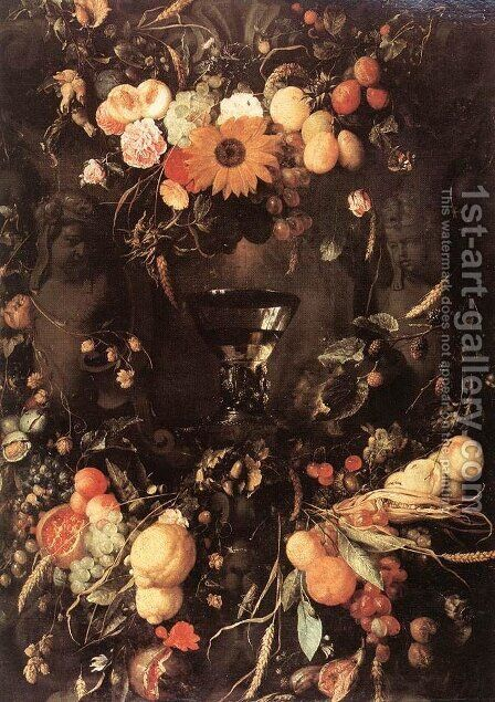 Fruit and Flower Still-Life 1650 by Jan Davidsz. De Heem - Reproduction Oil Painting