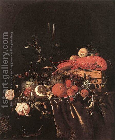 Still-Life with Fruit, Flowers, Glasses and Lobster 1660s by Jan Davidsz. De Heem - Reproduction Oil Painting