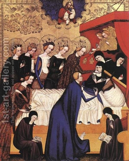 The Death of St. Clare 1410 by Master of Heiligenkreuz - Reproduction Oil Painting