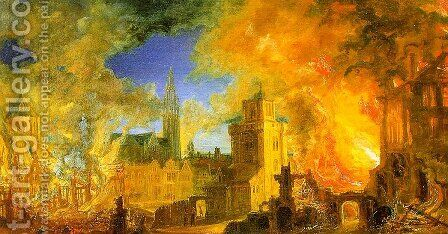 The Gunpowder Storehouse Fire at Anvers by Daniel van Heil - Reproduction Oil Painting