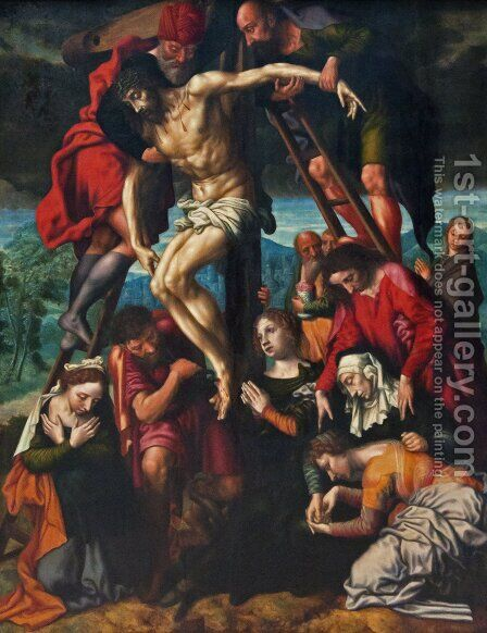 The Descent from the Cross by Jan Sanders Van Hemessen - Reproduction Oil Painting