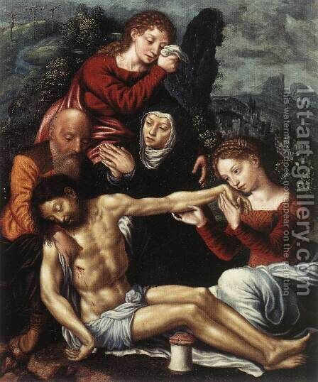 The Lamentation of Christ by Jan Sanders Van Hemessen - Reproduction Oil Painting
