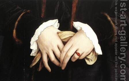 Christina of Denmark, Ducchess of Milan (detail) 1538 by Hans, the Younger Holbein - Reproduction Oil Painting