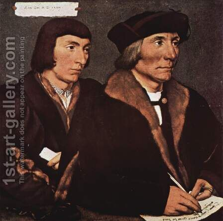 Double Portrait of Sir Thomas Godsalve and His Son John 1528 by Hans, the Younger Holbein - Reproduction Oil Painting