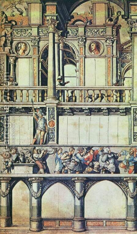 Drawing for the Façade Paintings in the Eisengasse (copy) first half of 16th century by Hans, the Younger Holbein - Reproduction Oil Painting