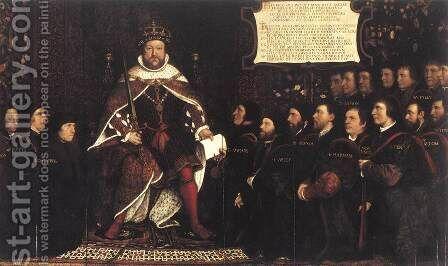 Henry VIII and the Barber Surgeons c. 1543 by Hans, the Younger Holbein - Reproduction Oil Painting