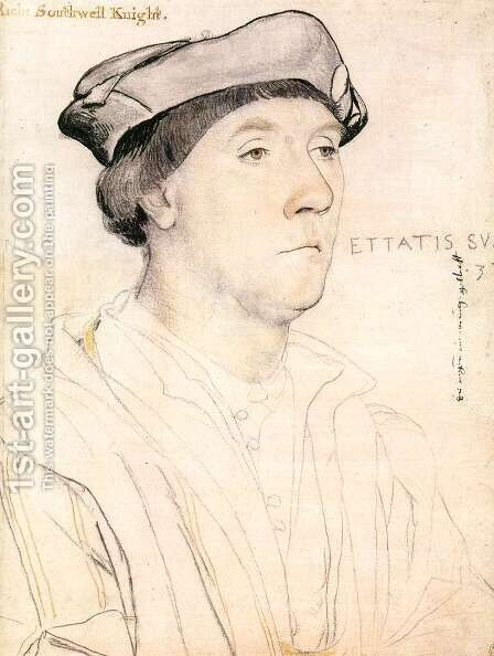 Portrait of Sir Richard Southwell c. 1537 by Hans, the Younger Holbein - Reproduction Oil Painting