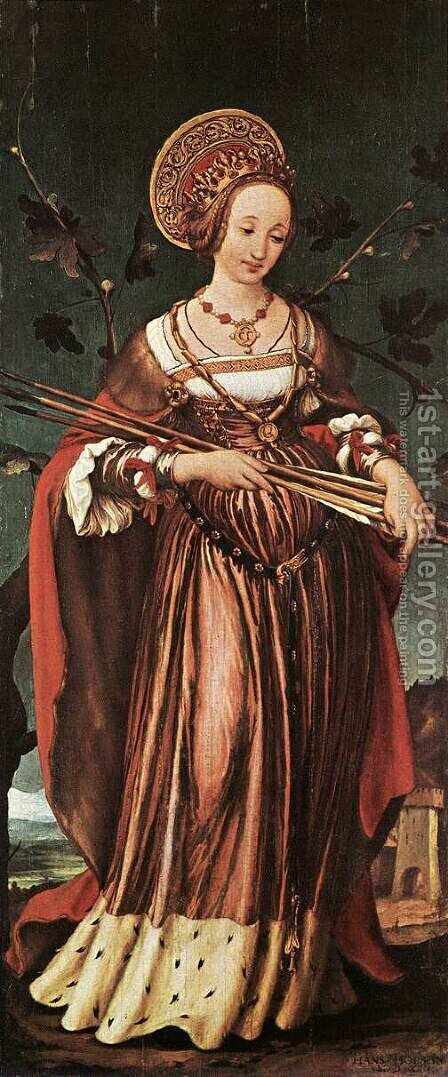 St Ursula c. 1523 by Hans, the Younger Holbein - Reproduction Oil Painting