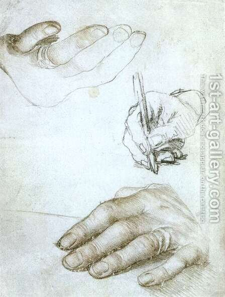 Studies of the Hands of Erasmus of Rotterdam c. 1523 by Hans, the Younger Holbein - Reproduction Oil Painting
